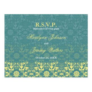 Damask Swirls Lace Peacock RSVP Wedding Postcard