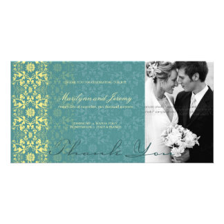 Damask Swirls Lace Peacock Thank You Photo Card