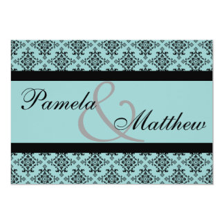 Damask Teal And Black Formal Wedding Invitation