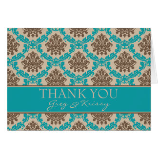 Damask Teal and Brown Thank You Note Cards