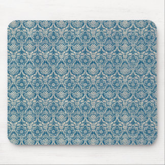 Damask Teal Blue Pattern Mouse Pad