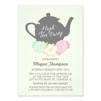 Damask & Teapot High Tea Invitation