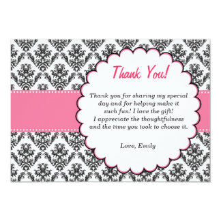 Damask Thank You Card Pink Black