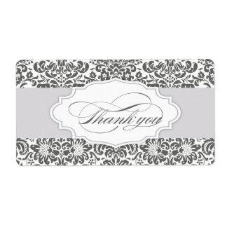 damask thank you label