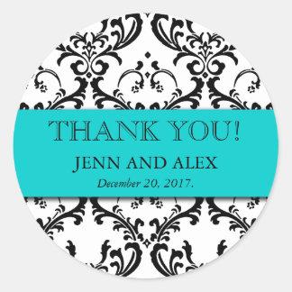 Damask Thank You Wedding Stickers Favours Aqua