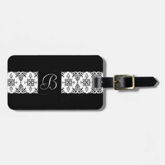 Damask Travel | Black Paisley White Floral Print Luggage Tag