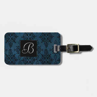 Damask Travel | Blue Black Paisley Floral Print Luggage Tag