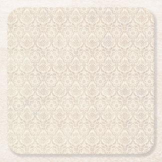 Damask Vanilla Pattern Square Paper Coaster