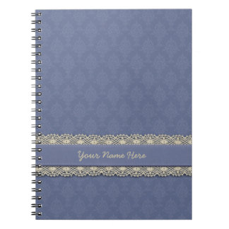 Damask Victorian Look Blue Tone on Tone Spiral Notebooks