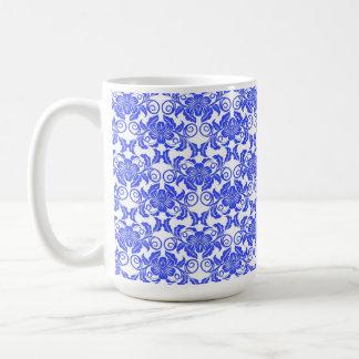 Damask vintage blue and white girly floral pattern basic white mug