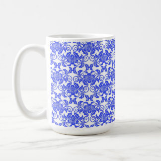 Damask vintage blue and white girly floral pattern classic white coffee mug