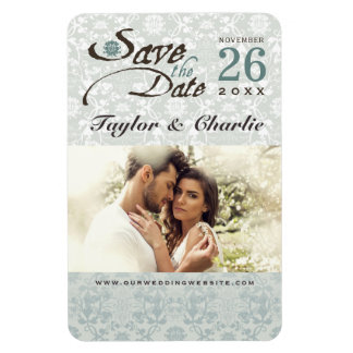 Damask Vintage Lace Save The Date Photo Magnet