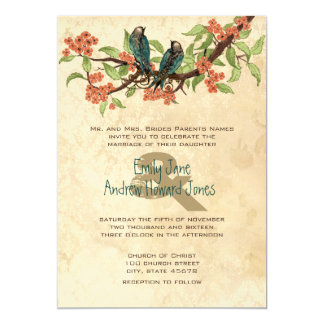 "Damask Vintage Love Birds Tea Stain Wedding Invite 5"" X 7"" Invitation Card"
