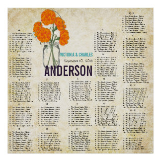Damask Vintage Modern Mason Jar Seating Chart