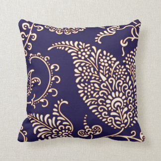 Damask vintage paisley girly floral navy pattern throw pillow