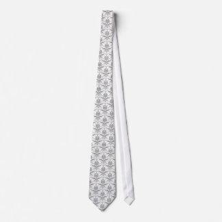 damask vintage silver gray tie