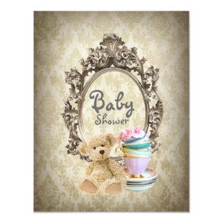 damask vintage teddy bear baby shower invitations