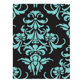 Damask vintage wallpaper pattern postcard