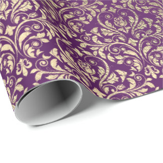 Damask Violet Purple Grape Plum Gold Royal Wrapping Paper
