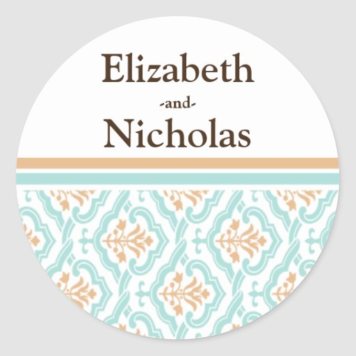 Damask Wallpaper Floral Wedding Invitation Seal Round Sticker
