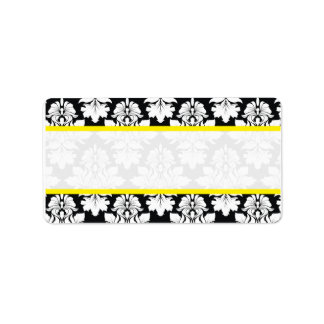 Damask Wedding Black White Yellow Labels