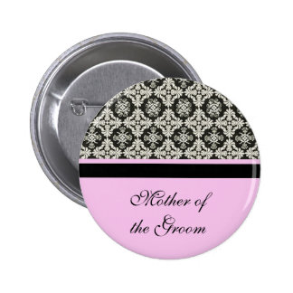 damask wedding button for mother sister brother pinback button