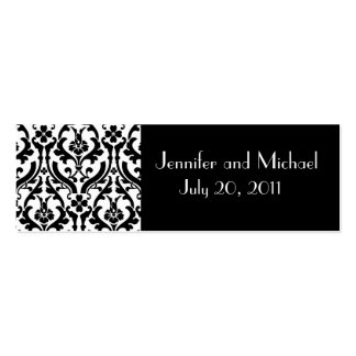 Damask Wedding Favour Gift Tags Pack Of Skinny Business Cards