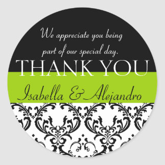 Damask Wedding Favour Thank You Label Green Round Sticker