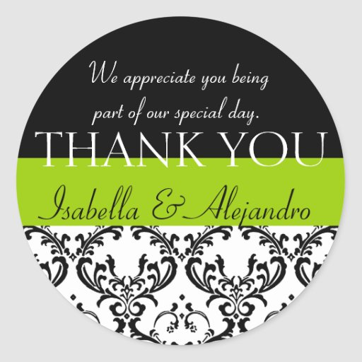 Damask Wedding Favour Thank You Label Green Round Stickers