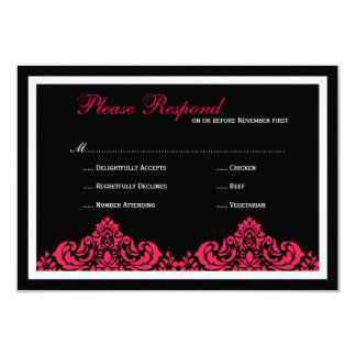 Damask  Wedding Invitation Custom Wed RSVP hot pin