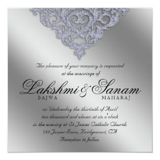 Damask Wedding Invite Sparkle Silver Lace