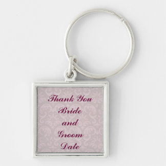 Damask Wedding Silver-Colored Square Key Ring