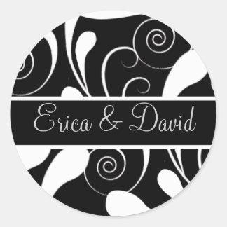 damask Wedding Monogram stickers