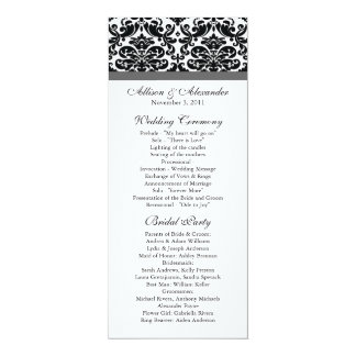 Damask Wedding Program Black & Charcoal Grey 10 Cm X 24 Cm Invitation Card