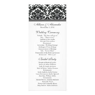 Damask Wedding Program Black & Charcoal Grey Custom Invitation