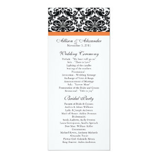 Damask Wedding Program Black & Coral Rose 10 Cm X 24 Cm Invitation Card