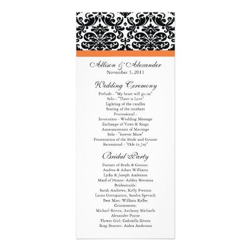 Damask Wedding Program Black & Coral Rose Invite