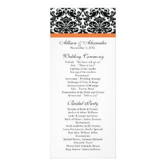 Damask Wedding Program Black Coral Rose Invite
