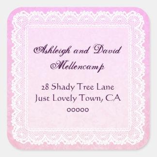 Damask Wedding Return Address Labels Square Sticker