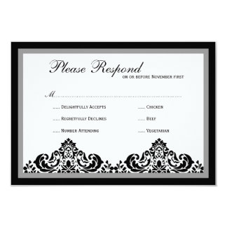 Damask  Wedding rsvp 9 Cm X 13 Cm Invitation Card