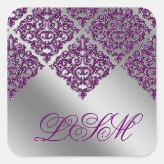 Damask Wedding Stickers Purple Initial Sparkle