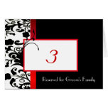 Damask Wedding Table Number Card
