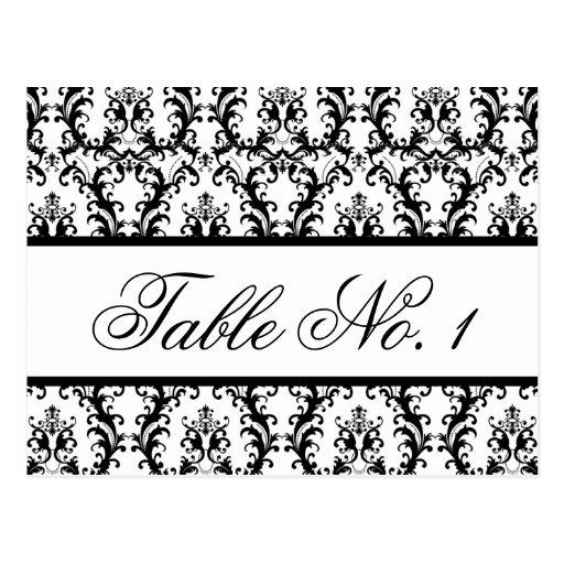 Damask Wedding Table Number Card White Black Postcard