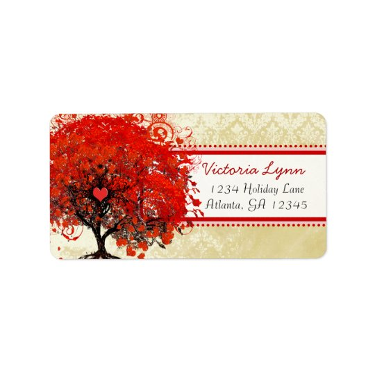 Damask Whimsical Heart Leafed Tree Red Pink Dots Label