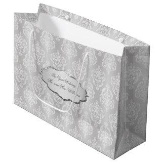 Damask White Silvery Gray Nameplate Large Gift Bag