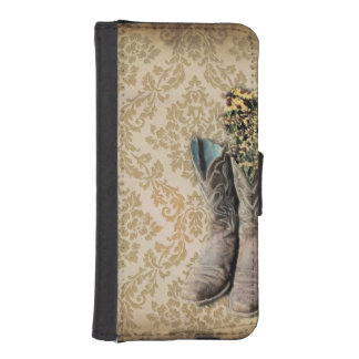 Damask wildflower Western country cowboy boots iPhone SE/5/5s Wallet Case