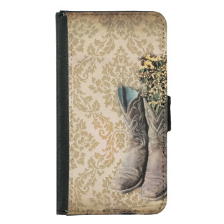 Damask wildflower Western country cowboy boots Samsung Galaxy S5 Wallet Case