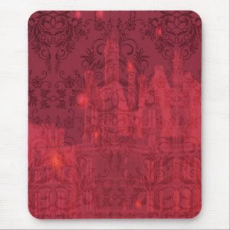 Damask Wildflowers, Angel's Castle in Red & Pink Mouse Pad