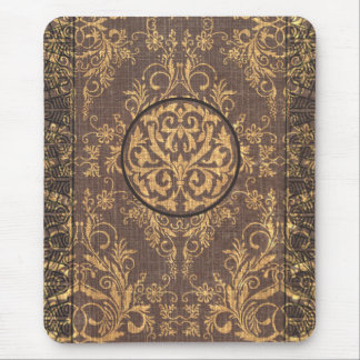 Damask Wildflowers, BOOK COVER in Brown & Gold Mouse Pad