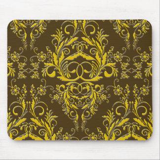 Damask Wildflowers, Embossed Metal in Brown & Gold Mouse Pad